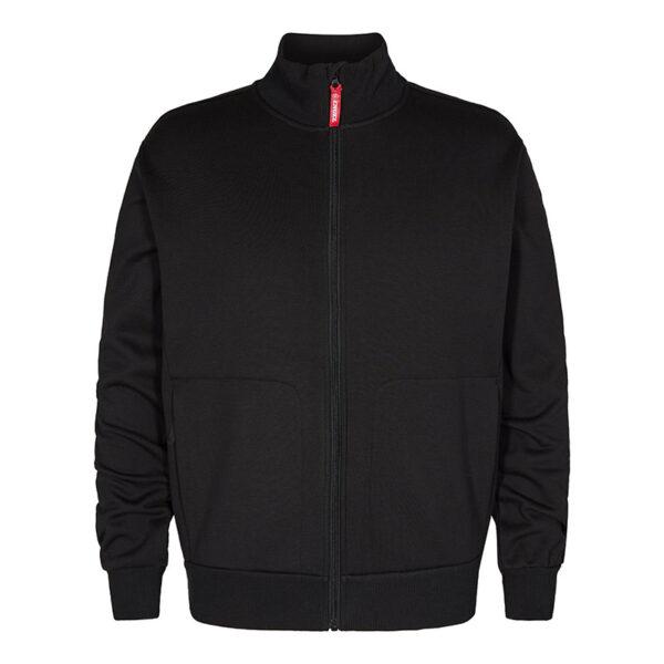 F. Engel Sweatshirt met Kraag (8024-233) Zwart - Witte Raaf Bedrijfskleding