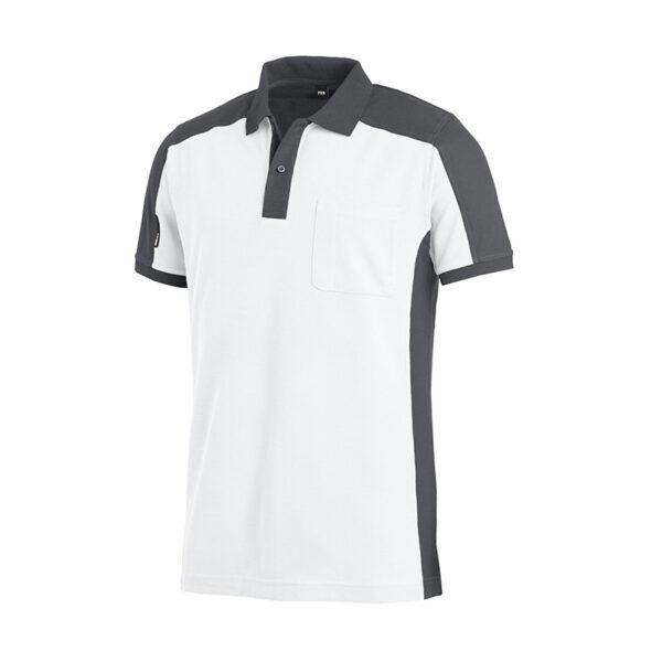 FHB KONRAD Polo-Shirt tweekleurig Wit-Antraciet - Witte Raaf Bedrijfskleding